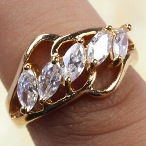 White Topaz Gold Plated 925 Silver Plated Handmade Ring US Size 5.75 Ethnic Gift
