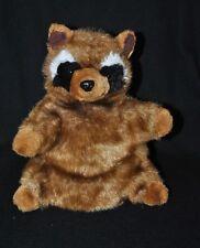 Peluche doudou marionnette raton laveur brun marron noir blanc 26 cm TTBE