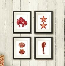 Red Beach Bathroom decor Set of 4 Unframed Prints starfish seahorse clamshells