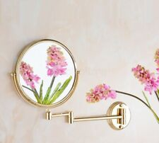 Gold Brass Double Sided Bathroom Folding Shave Makeup Mirror Wall Magnifying