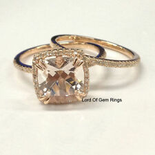 Wedding Ring Sets,Morganite with Diamonds 14K Rose Gold,8mm Cushion Cut,Prong