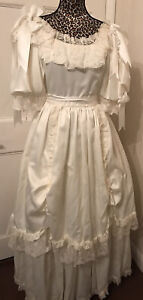 Vintage Ronald Joyce London Puff Sleeve Tiered 4 Layer Skirt Wedding Dress Sz 12