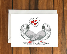 Love heart parrots greeting card A6