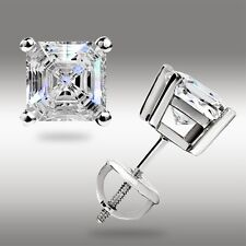 ASSCHER CUT STUD EARRINGS 14K WHITE GOLD 1.50CT  w/SCREWBACK PIERCED GREAT DEAL