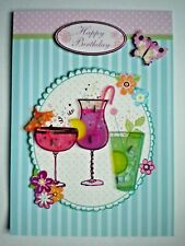 "PAPER MAGIC ~ ""HAPPY BIRTHDAY"" TROPICAL DRINKS GREETING CARD + ENVELOPE"