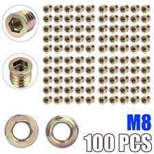 10Pcs Metal Hex Drive Head Screw Insert Nut Threaded For Wood M4-M10 Hi TDIJ