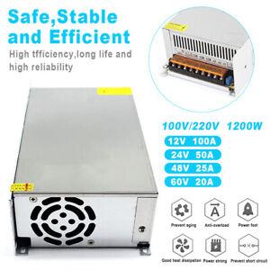 110V to DC 12V 24V 48V 60V 25A 50A 100A 1200W Switch Power Supply Adapter USA