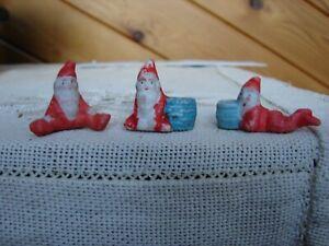 3 Antique Vintage Miniature Bisque Santa Claus Elves - Tiny Candle Holders?