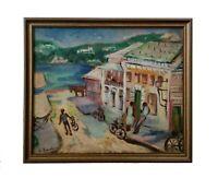 Vintage 1950's Signed Mystery Mid Century Coastal Town Street Scene Oil Painting