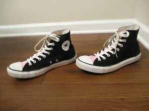 Used Sz 10 Fit Like 10.5-11 Converse Chuck Taylor All Star Hi Shoes Black Pink