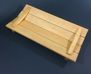"""Wood Footed Centerpiece Handmade Panel Tray Bread, Fruit or Flowers 15""""L x 7.5""""W"""