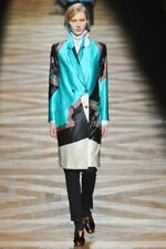 BEAUTIFUL Dries Van Noten Runway wool silk colorblock print coat jacket $2500!