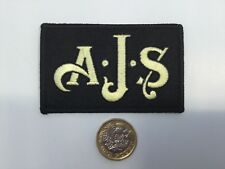 AJS MOTORCYCLE EMBROIDERED IRON / SEW ON PATCH BADGE GOLD ON BLACK NEW
