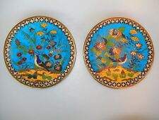 Chinese Cloisonne Bird Plates Set of 2 Circa 1900