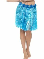 Hawaiian Hula Skirt with Flowers, Adult Fancy Dress Costumes, NEON BLUE