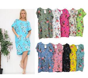 New Ladies Floral Italian Lagenlook Panel Insert Scoop Neck Pocket Linen Dress