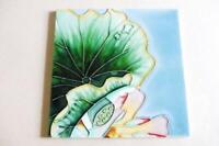 ARTISAN Art Nouveau TILE Glazed Ceramic Lotus Blossom FLOWER hand painted
