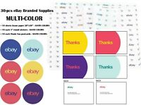 30-pcs EBAY BRANDED SUPPLIES by color--Tissue Paper-Stickers-Thank You Postcards