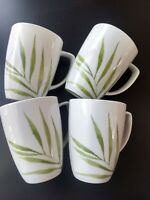 Set of 4 Corelle Coordinates Bamboo Palm Leaf Tall Coffee Mug Cup Green White