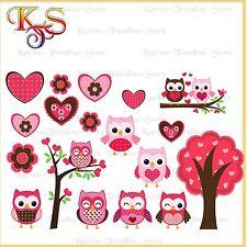 ♡♥ tolles Bügelbilder Set Hotfix * Bügelbild * Eule * Eulen * Owl in Love 155 ♡♥