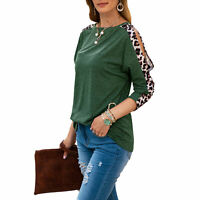Women Leopard Print Round Neck Tops Ladies Long Sleeve Casual Baggy T Shirt