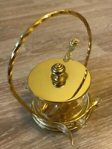 Sugar bowl vintage brass and glass for Kitchen Home