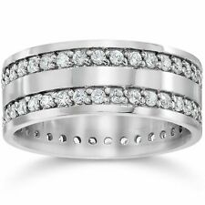 1.50ct Double Row Diamond Eternity Ring Band 14K White Gold