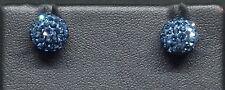 Plata esterlina 925 Shambala austríaco Cristal Pendientes Azul vendedor ref 606