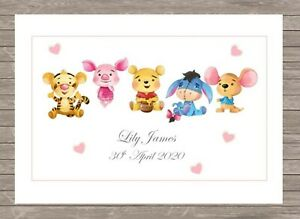 A5 Personalised Children's Baby's Name Plaque/Print for Bedroom Disney Inspired