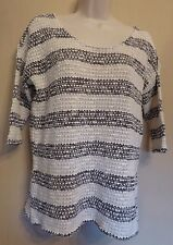 Marks & Spencer Collection UK12 EU40 US8 cream/black stripe short sleeve jumper