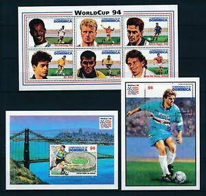[105821] Dominica 1994 World cup soccer football USA 3 Souv. Sheets MNH