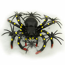 20pcs Plastic Scary Black Spiders Stretchable Web Halloween Haunted House Decor