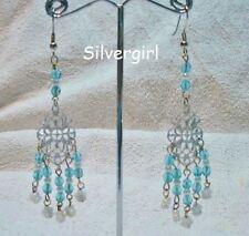 Aqua Czech Pearl Silver Chandelier Earrings