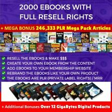 2000 eBooks with Full Rights + 246,333 PLR Articles + 12 GB Digi Products no cd