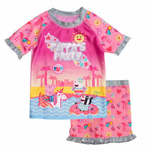 Official Kids Peppa Pig Party Girls Swimming Top & Shorts Costume