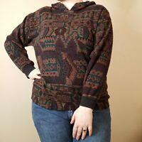 Vintage Tribal Print Pullover Hoodie Womens Aztec Small Medium Style New York