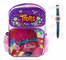 Trolls Poppy Large Back to School Canvas Backpack w/ LCD Watch & Mini Sticker