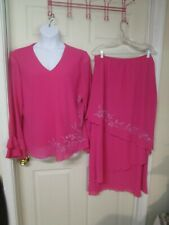 Women's Charisma BEAUTIFUL 2 PC Pink Embellished Skirt Suit. Size 20 W.