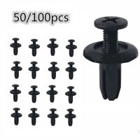 50pcs Car Plastic Rivets 6mm Hole Dia Fastener Fender Bumper Push Pin Clips`