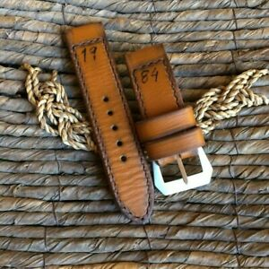 """handmade vintage 26mm brown """"1984"""" leather strap GPF buckle fits panerai watch"""