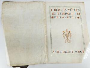 Early Antique Italian German Illuminated Songbook Sermon Cover 1601 on Vellum