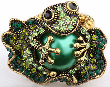 Frog stretch ring animal bling scarf jewelry gift 11 dropshipping gold green