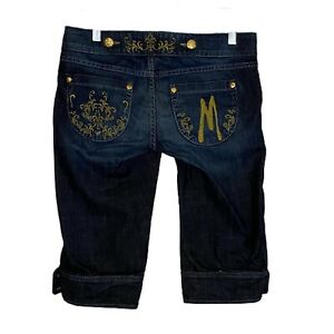 MARCIANO Jean Shorts Embellished Gold Tone Engraved Buttons Made In USA Sz 28