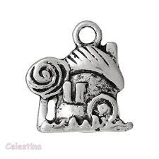 5 Antique Silver Fairy House Charms - Pixie House Charm - Mushroom Charms