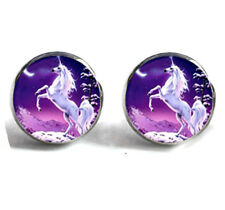 Silver Tone Unicorn Horse Earrings Stud Post with a Gift Box Fast Shipping