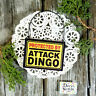 DecoWords Mini Gag Sign Wood Ornament PROTECTED BY Attack Dingo Caution USA New