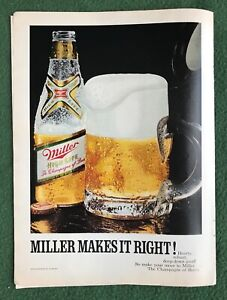 1970s magazine Ad MILLER Makes it Right Beer Liquor Bar Alcohol Drink mancave