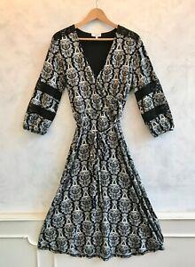 NEW - LAURA ASHLEY Archive Black White Paisley Lace Sleeve Wrap Dress Medium 12