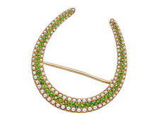 Antique 14K Gold Demantoid Garnet and Sead Pearl Horseshoe Pin