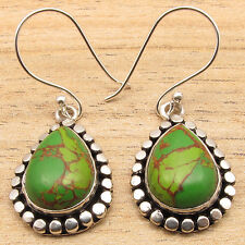 Green Copper Turquoise Gems Ethnic Jewelry Dangle Earrings ! 925 Silver Plated